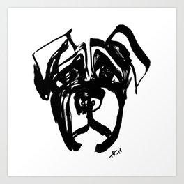 Dog- fusion of penstrokes Art Print