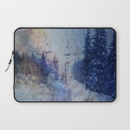 Chairlift into the Universe // Milky Way Galaxy Snowboarding Snow Nebula Stars Mixed Media Popart Laptop Sleeve