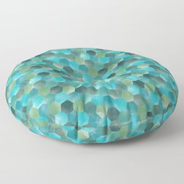 Mint blue and greens mosaic tile pattern Floor Pillow