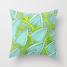 Sea of Leaves - Blue and Green Leaf pattern Throw Pillow