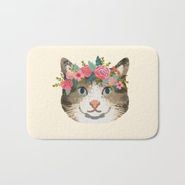 Cat tabby floral crown cute gifts for cat lovers Bath Mat