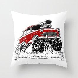 55 Gasser Series REV-2 RED Throw Pillow