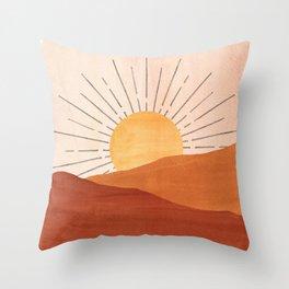 Abstract terracotta landscape, sun and desert Throw Pillow