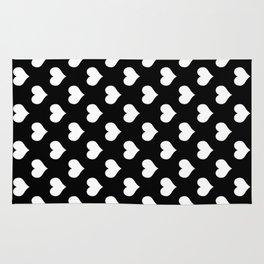 Black White Hearts Minimalist Rug