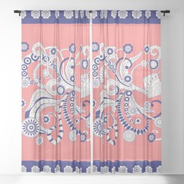 pink floral doodle pattern with watering can Sheer Curtain