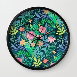 Roses + Green Messy Floral Posie Wall Clock
