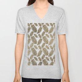 Elegant faux gold foil tropical leaves floral pattern Unisex V-Neck