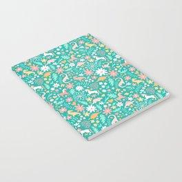Dinosaurs + Unicorns on Teal Notebook