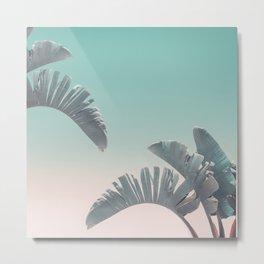 Tropical Palm Leaves In Pastel Light Metal Print