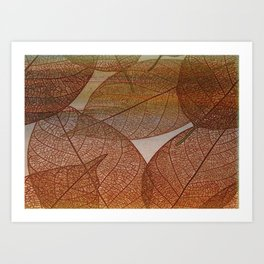 Painterly Amber And Brown Leaf Abstract Art Print
