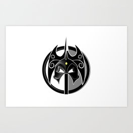 The Darkslayer, black & white, logo only, white on white Art Print