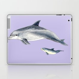 Bottlenose dolphin purple background Laptop & iPad Skin