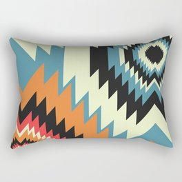 Navajo shapes in orange and blue Rectangular Pillow