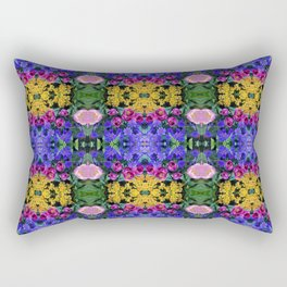 Floral Spectacular: Blue, Plum, Gold - square repeating pattern, Olbrich Botanical Gardens, Madison Rectangular Pillow