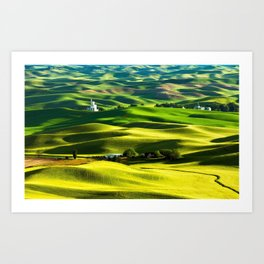 Rolling Hills & Fields of Wheat in Palouse ,Washington by Malcolm Carlaw Art Print