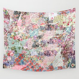 San Antonio map flowers Wall Tapestry