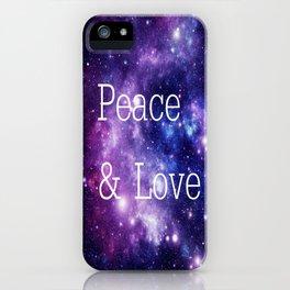 Peace & Love Space purple blue iPhone Case