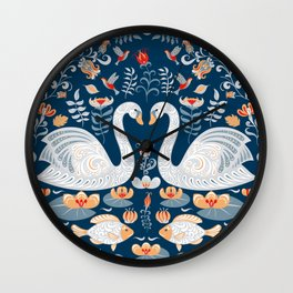 Swans, fish, hummingbirds, flowers and leaves. Circular decorative ornament. Folk art. Wall Clock