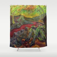 nietzsche Shower Curtains featuring and again and again nietzsche by hankhenry