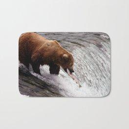 Bear Catching Salmon - Wildlife Photography Bath Mat