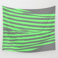 stripes Wall Tapestries featuring Green & Gray Stripes by 2sweet4words Designs