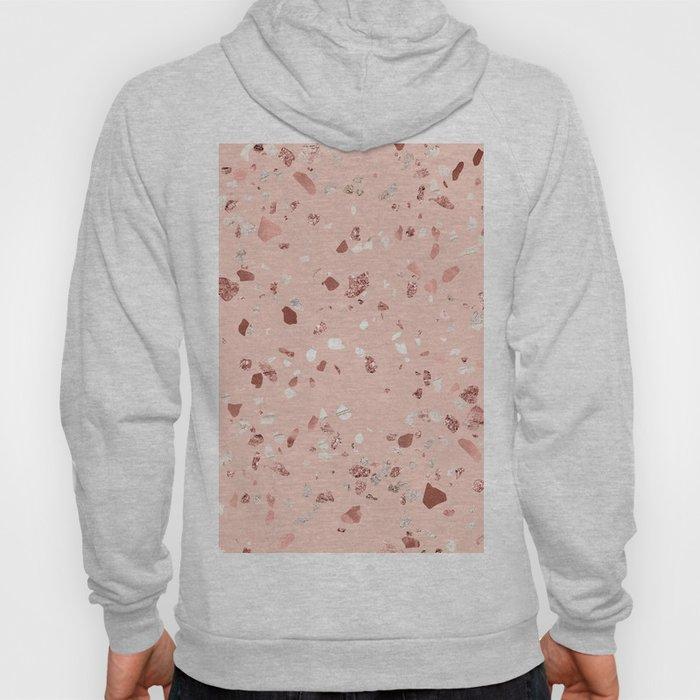 Deep Pink Quartz Gold Terrazzo Hoody