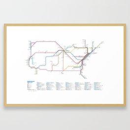 Amtrak as Subway Map 2016 - Sunset Limited Version Framed Art Print
