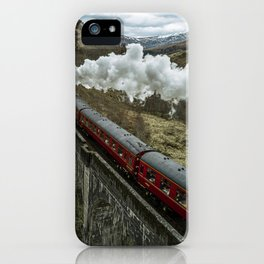 Red Wizard Steam Train In The Scottish Highlands – Landscape Photography iPhone Case