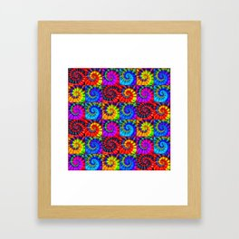 Spiral Tie Dye Checkerboard Framed Art Print