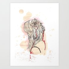 Girl and Butterflies Art Print