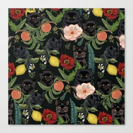 Botanical and Black Cats Canvas Print