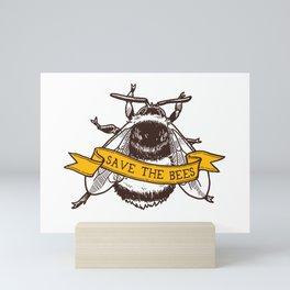 Save The Bees! (Bumblebee) Mini Art Print