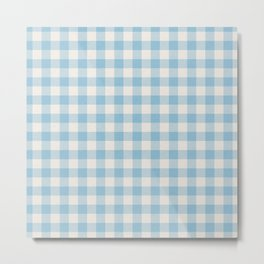 Modern 80s white pastel blue picnic print pattern Metal Print