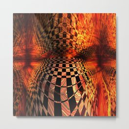 Gold And Red Checkered Abstract Metal Print