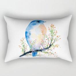 Watercolor bluebird on Berry Branch Rectangular Pillow