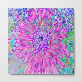 Cool Pink, Blue and Purple Cactus Dahlia Explosion Metal Print