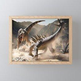 Dinosaurs Jurassic fighting Framed Mini Art Print