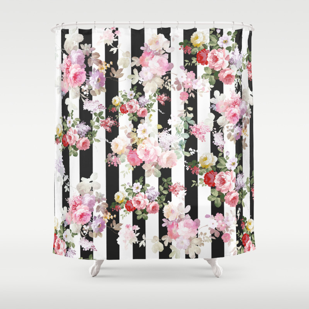 Black White And Pattern Shower Curtains Society6