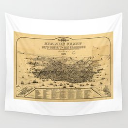 Aerial View of San Francisco, California (1875) Wall Tapestry