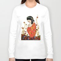 klimt Long Sleeve T-shirts featuring Kokeshi Hope of Klimt by Pendientera