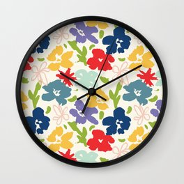 70s inspired loose florals Wall Clock