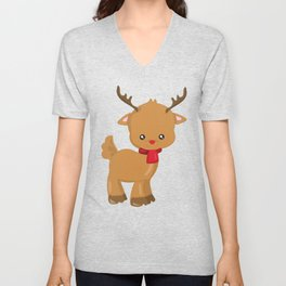 Cute Reindeer, Reindeer With Red Scarf, Red Nose Unisex V-Neck