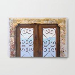 Windows of Santorini Metal Print