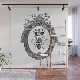 Queen Bee | Vintage Bee with Crown | Black, White and Grey | Wall Mural