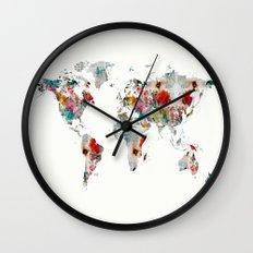 world map abstract  Wall Clock