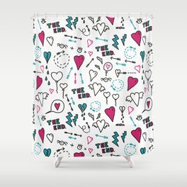 feelings exposed - doodle print with love Shower Curtain