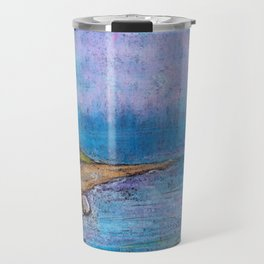 landscape with lighthouse and beach by oil pastel Travel Mug