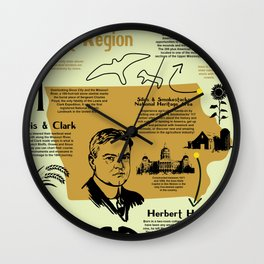 Iowa National Parks Infographic Map Wall Clock