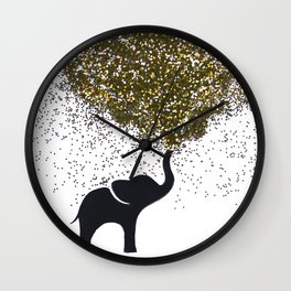 elephant w/ glitter Wall Clock