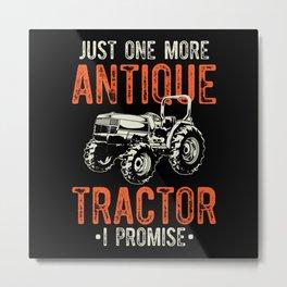 Antique Tractor Gift Idea Design Motif Metal Print